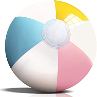 """Novelty Place Inflatable Beach Balls - 12 Pack, 12"""" Diameter, White Panels Alternate with Macaron Colors, Leak-Proof PVC -..."""