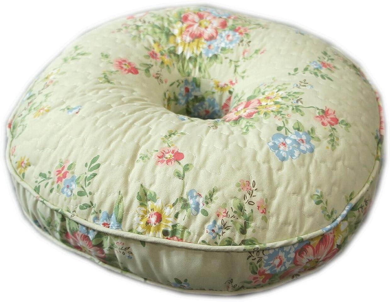 シャツ業界圧力綺麗な花柄キルトドーナツ円座クッション「ビンテージ -Flower-」40R