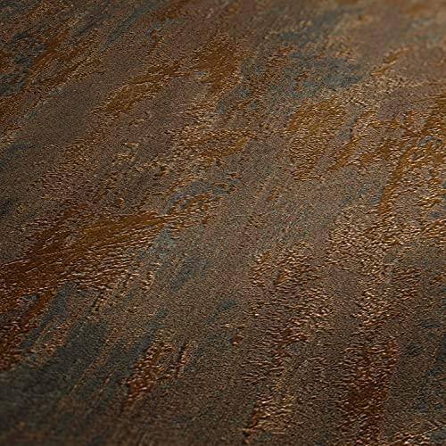 WALLCOVER Tapete Kupfer Metallic Braun Bronze Glänzend Vliestapete Rost Optik Vintage Industrial Design Vinyl Modern Shabby Chic Struktur Used Look Unitapete Wohnzimmer Schlafzimmer Küche Flur