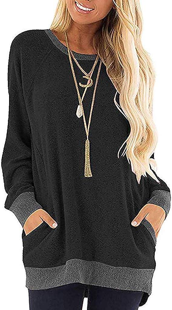NREALY suéter Womens Color Block O-Neck Pocket Long Sleeve T-Shirts Sweatshirt Tops Blouse