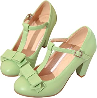 c86886dbf416 Susanny Women s Chic Sweet Round Toe T-Strap Bows Adorable Buckle High Cone  Heel Mary