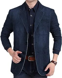 Men's Causal Denim Blazer Jacket Slim Fit Distressed Jeans Suit Coat