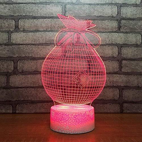 3D-nachtlampje, 7 kleurverandering, LED, tafellamp, USB, slaapkamer, nachtkastje, decoratie, handtas, zilver, modelbouw, baby, slaapkamer, verlichting, cadeaus