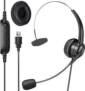 ヘッドセット 片耳 USB接続 ヘッドホン マイク付き 330度回転でき 有線 高音質 軽量 通話 ミュートコントロール付き 伸縮可能 ボリューム調整可能 オーバーヘッド PC用 Web skype 会議通話 ゲーミング Switch PS4 対応