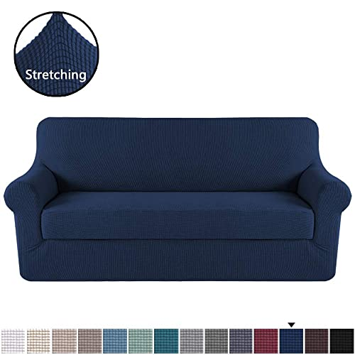 "H.VERSAILTEX Stretch Sofa Cover 2 Piece Sofa Slipcover Couch Cover Furniture Protector with Elastic Bottom, High Spandex Textured Lycra Small Checks Jacquard Fabric Washable(Sofa 72""-96"", Navy)"