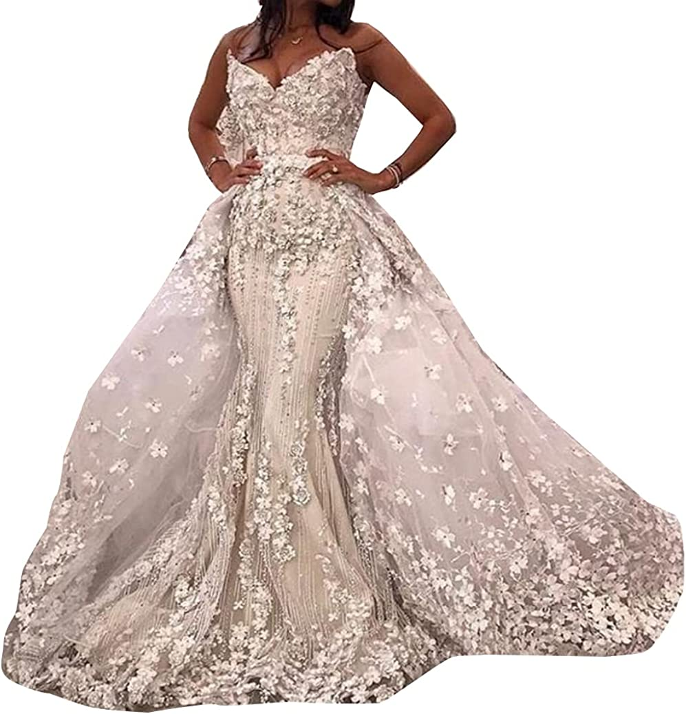 Spaghetti Strap Sequins Appliques Bridal Gown Detachable Train Lace up Corset Mermaid Wedding Dresses for Bride