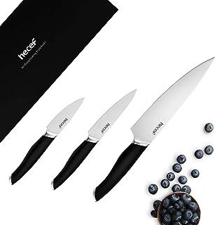 hecef Ensemble de Couteaux de 3 Couteaux, Ensemble de Couteaux à Ruban 3 pièces avec poignée Confortable, Couteaux à Manch...