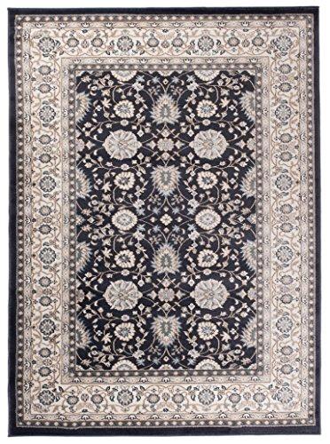 Traditioneller Klassischer Teppich für Ihre Wohnzimmer - Anthrazit Schwarz Creme - Perser Orientalisches Ziegler Muster - Blumen Ornamente - Top Qualität Pflegeleicht