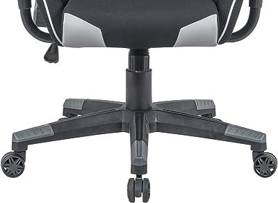Meubletmoi – Silla de Oficina Gaming Negro Gris – Silla Ajustable ergonómico Confortable – Cojines extraíbles