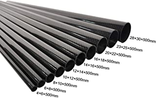 STARIMCARBON 4X6X500mm 3K Plain Roll Wrapped 100% Carbon Fiber Tube Glossy Surface (2PCS)