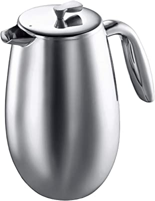 Bodum Columbia Thermal French Press Coffee Maker, Stainless Steel, 34 Ounce, 1 Liter (8 cup)