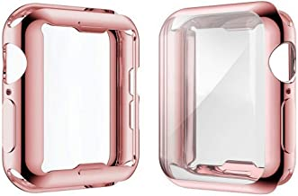 [2-Pack] Julk Case for Apple Watch Series 5 / Series 4 Screen Protector 44mm, 2019 New iWatch Overall Protective Case TPU HD Ultra-Thin Cover for Series 5/4 (1 Rose Pink+1 Transparent)