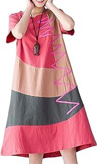 ASHER FASHION Women Loose Casual Plus Size O-Neck Cotton A-Line Vintage Dress Orange,US 8-10