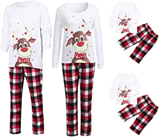 Christmas Family Matching Pajamas Set Lovely Xmas Deer Top + Plaid Pants Mommy, Daddy &Me Winter Home Sleepwear