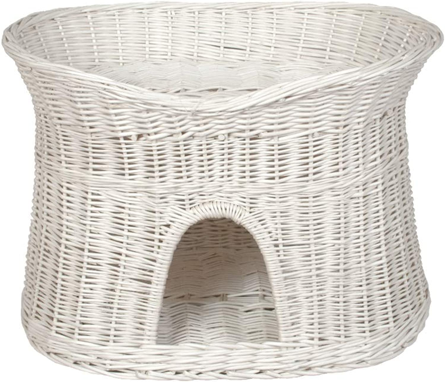 DamianWiklina Wicker Two Tier Pet Pod Cat Dog Bed Basket – White wicker colour – Size L (without pillows)