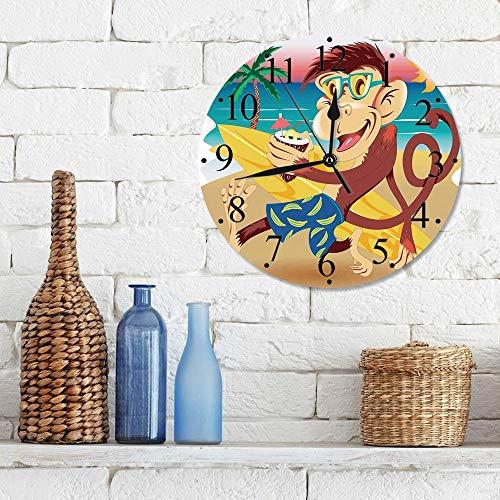 Silencioso Wall Clock Decoración de hogar de Reloj de Redondo,Animales tropicales, mono inconformista con tabla de surf y gafas bebiendo en la playa en S,para Hogar, Sala de Estar, el Aula