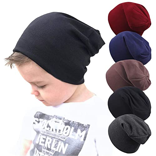 ae79f77f58b Wellwear 5 Pcs Baby Boy s Beanie Hats Cotton Skull Caps for Toddlers Kids  6-60