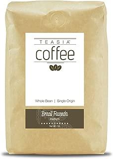 Teasia Coffee, Brazil Fazenda, Single Origin, Medium Roast, Whole Bean, 2-Pound Bag