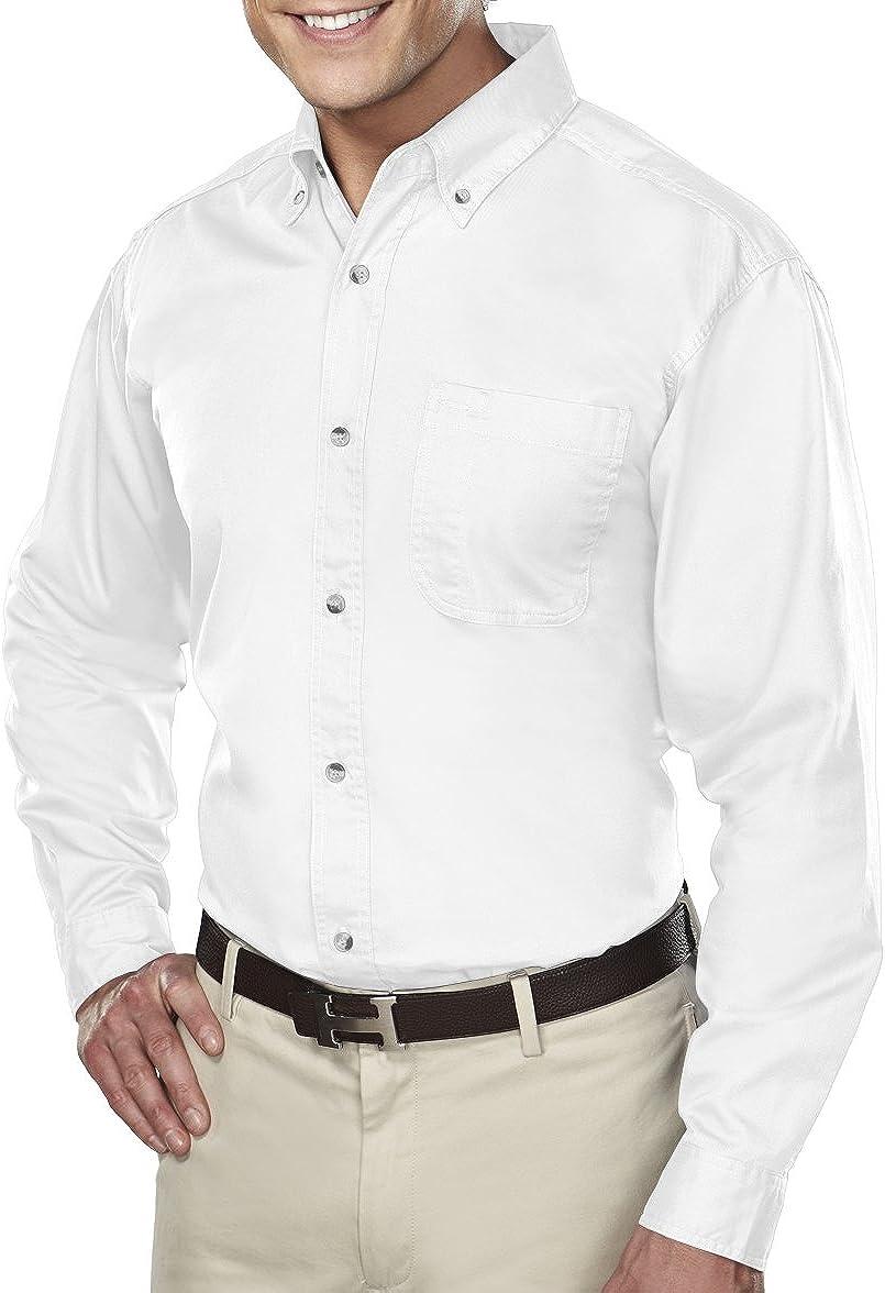 A&E Designs Men's Tall Size Down Collar Long Sleeve Dress Shirt - White