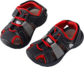 Hopscotch Baby Boys PU Close Teo Fisherman Sandal in Red Color