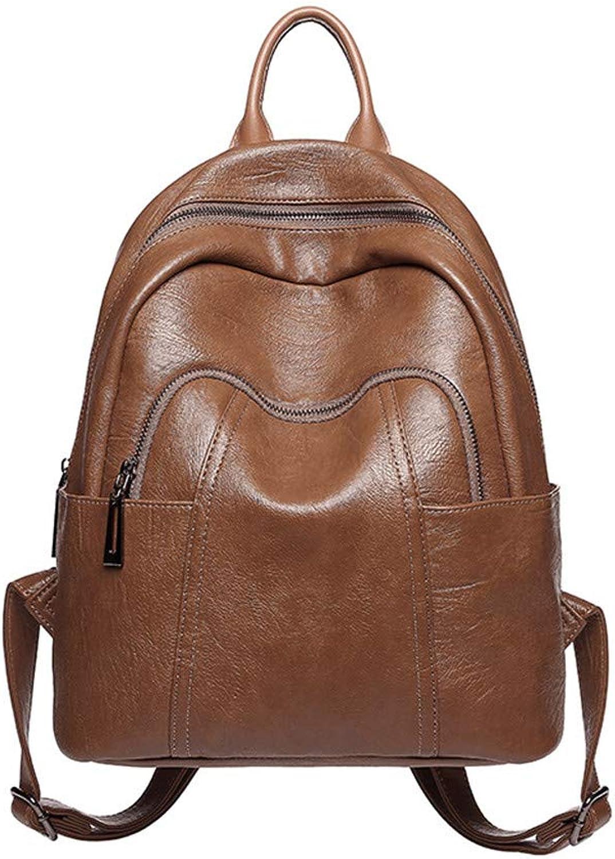 New Women Backpack Girls PU Leather Backpack Zipper Backpack Casual School Shoulder Bags Travel Rucksack (color   Brown)