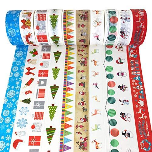 ZesNice 10 Rotoli Washi Tape di Natale Washi Tape Decorativo Mascheramento Decorazioni Natalizie di Vacanza per Artigianato, Regalo, Album