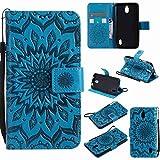 Guran® Funda de Cuero para Huawei Y625 Smartphone Función de Soporte con Ranura para Tarjetas Flip Case Cover-Azul