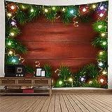 KnBoB Tapiz Decorativo Pared Tablero de Luces de Árbol de Navidad 260 x 240 CM Tejido Poliéster Impermeable Decoracion Hogar