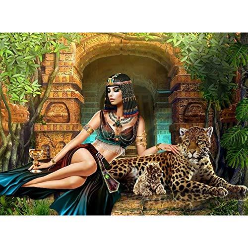 Nolvam DIY 5D Egypt Egyptian Queen Woman Panther Full Diamond Painting Cross Stitch Kits Art Animal 3D Paint by Diamonds-19.7 X 27.6 Inch