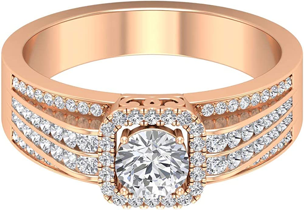 1.08 Diamond Halo Vintage Women Popular products Promise Bridal Ring Anniversary Fashion