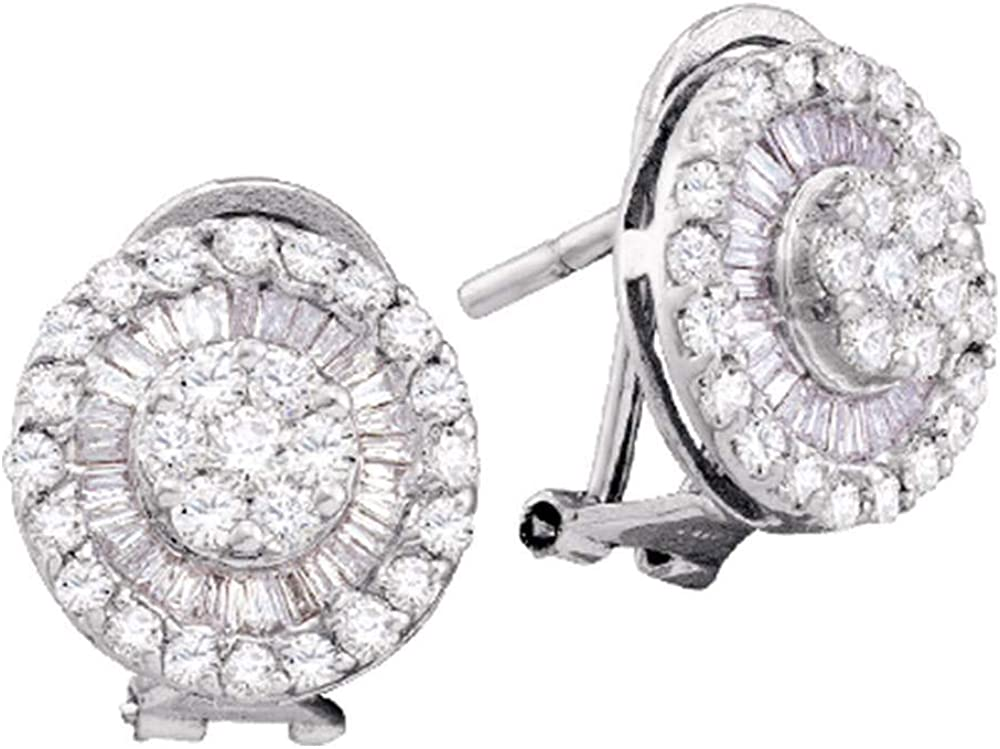 Diamond Earrings Solid 14k White Gold Max Chicago Mall 67% OFF 1 Large Studs French-clip