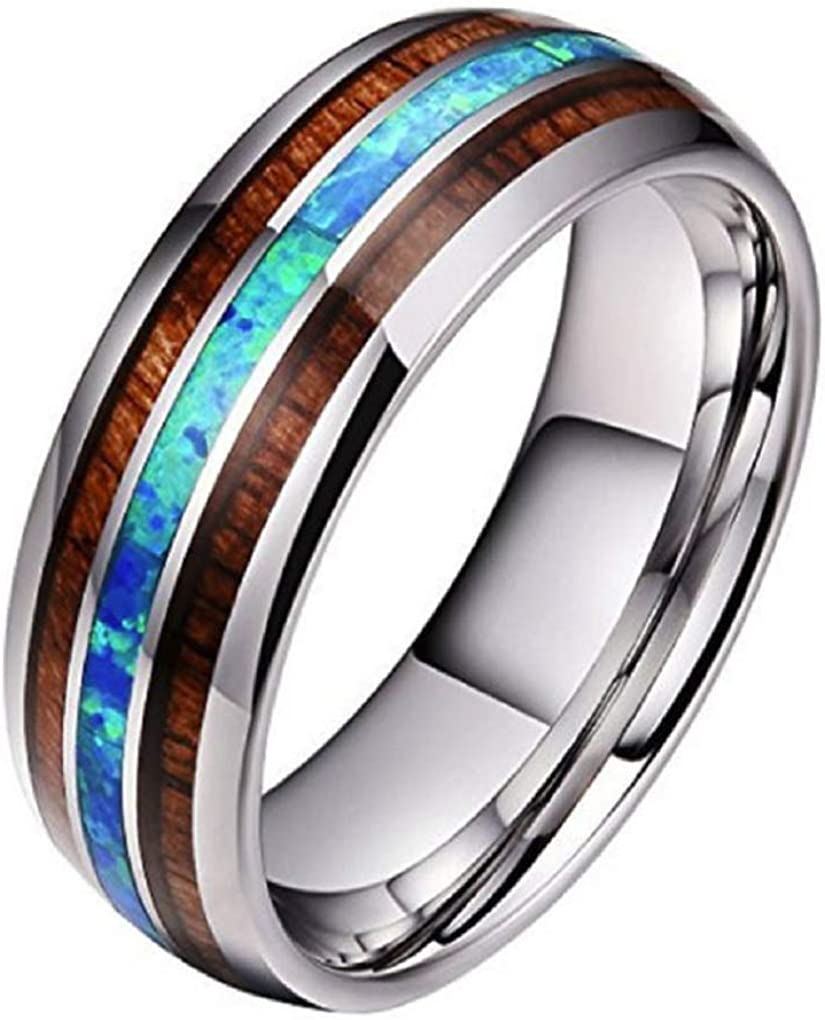 Blowin 8mm Stainless Steel Ring Engagement Wedding Bands for Men Women Comfort Fit Wood and Abalone Shell Inlaid Size 4 to 14