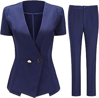 Women's Short Sleeve One Button Blazer Jacket and Dress Pants 2 Piece Suit Set