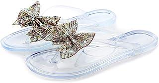 jiheousty Femmes Brillant Strass Bowknot Tongs coloré Bijoux Paillettes Sandales Plates été Plage gelée Clip Orteil Pantou...