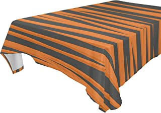 FCZ Rectangle Table Cover Tiger Stripe Background Orange Black 60 x 108-inch Restaurant Banquet Decoration Oblong Round Coffee Heavy Weight Polyester Table Cloth