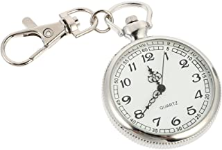 POPETPOP Clip- on Open Face Quartz Pocket Watch with Key Buckle- Unisex Fob Watch Hanging Pocket Watch Decorative
