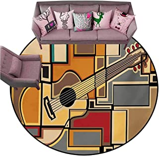Floor Mats for Living Room Music,Funky Fractal Geometric Square Shaped Background with Acoustic Guitar Figure Art,Multicolor Diameter 72