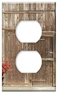 Switch Plate Outlet Cover - Door Wooden Barn Entrance Vintage Texture Closed