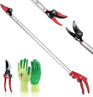 Hortem Long Reach Pruner Set, 35-Inch Hold Long Reach Cut Garden Tree Pruner with Flexible Hand Grip and Lightweight Bypas...
