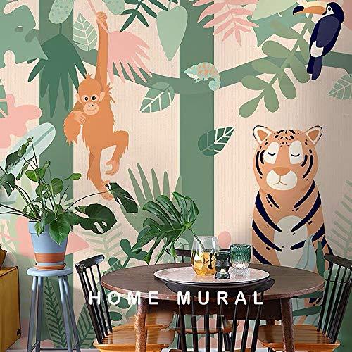 Panany Mural de papel pintado para niños con animales de la selva para habitación infantil infantil 3D de dibujos animados de papel de pared (400 x 280 cm, lienzo autoadhesivo)