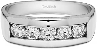 TwoBirch 0.75 Ct. 5 Stone Channel Set Men's Wedding Ring with Cubic Zirconia in 18k White Gold Plated Alloy