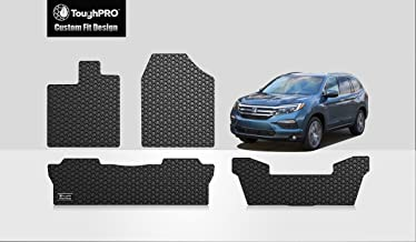 TOUGHPRO Floor Mat Accessories 1st + 2nd + 3rd Row Compatible with Honda Pilot - All Weather - Heavy Duty - (Made in USA) - Black Rubber - 2016, 2017, 2018, 2019, 2020