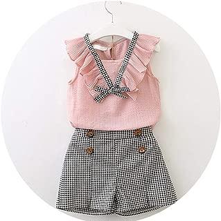 MDFY OEWGRF Camisa sin Mangas Estilo Verano para bebés y niñas + Pantalones Cortos + cinturón 3 Piezas Traje niños Ropa Juegos