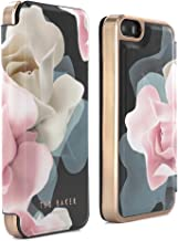 Ted Baker AW16 iPhone SE / 5S Case - Luxury Folio Case/Cover in Flower Design for Women with Built-in Interior Mirror for The Apple iPhone SE and iPhone 5S - Porcelain Rose - Black