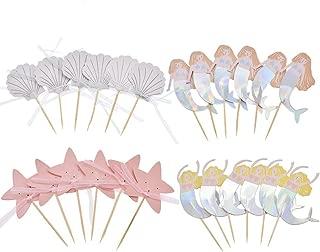 iMagitek 24 Pack Mermaid Cupcake Toppers Cake Picks for Mermaid Theme Party, Birthday Party, Baby Shower, Baby Girl 1st Birthday Party, Wedding Party