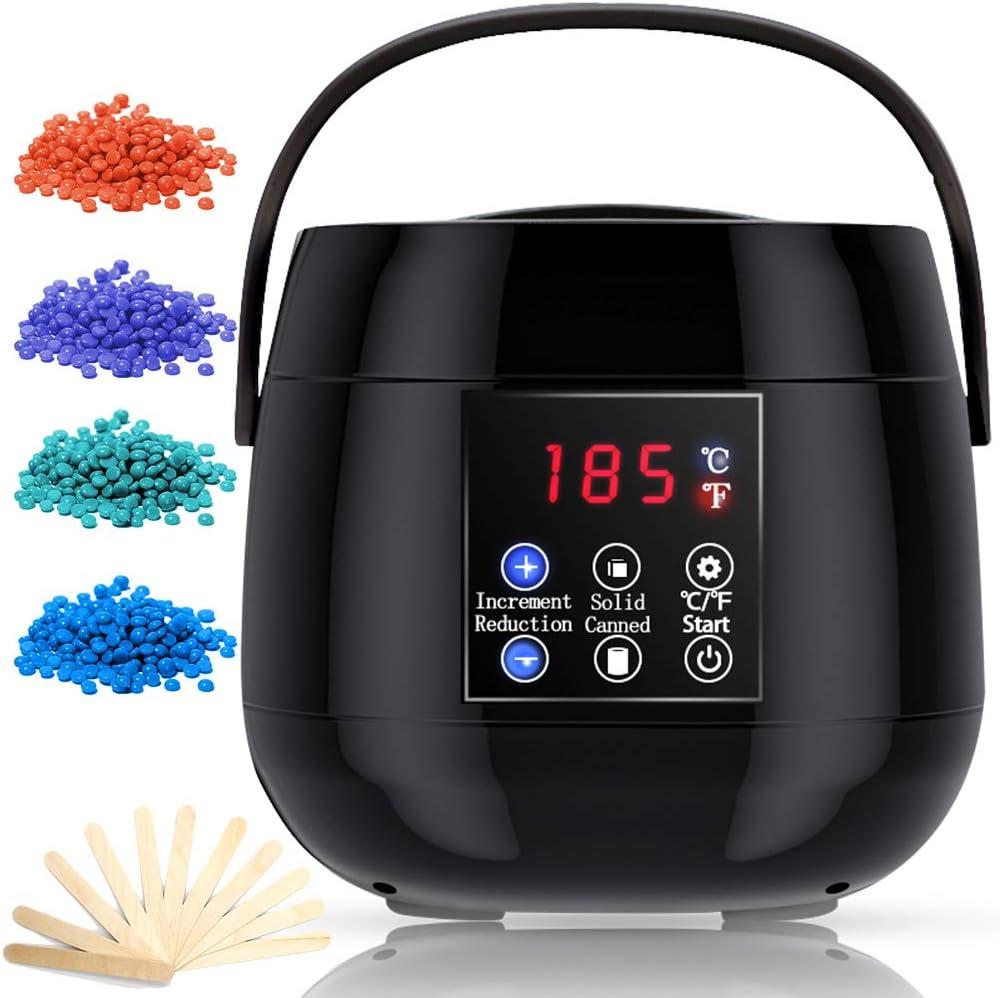 RioRand Wax Warmer Hair Removal Kit Electric Wax Heater Home Waxing Machine with Hard Wax Beans and Wax Applicator Sticks (Black)