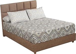 Al Maamoun Diamond Patterned Bed Sheet Set, 260x240 cm - 4 Pieces