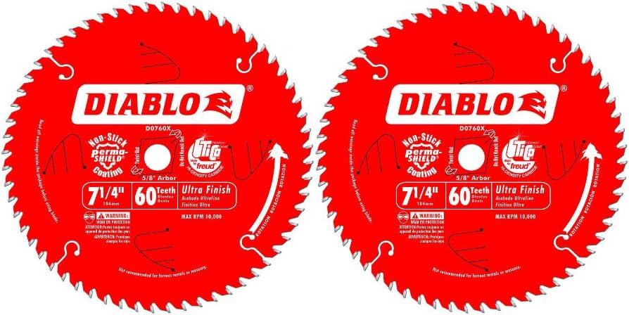 Freud D0760x Diablo Ultra Finish Saw Blade Atb 7 1 4 Inch By 60t 5 8 Inch Arbor Circular Saw Blades Amazon Com