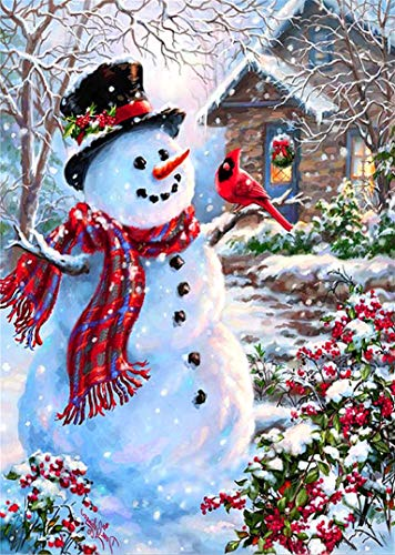 Trooer Christmas Diamond Painting Kits for Adults, 12 x 16 Inch 5D DiamondPaintingKits Full Drill Embroidery Cross Stitch DIY Art Craft for Christmas Home Wall Decor Snowman