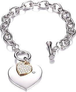 Bracciale con maglie a forma di cuore, bracciale a forma di cuore Bracciale con ciondolo a forma di catena placcato in arg...
